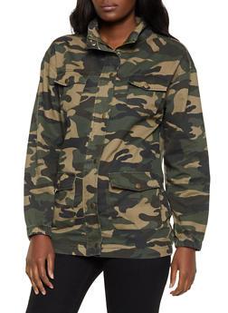Camo Zip Front Denim Jacket - 1075038204065