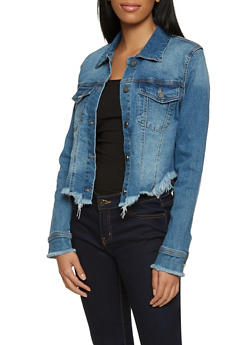 Frayed Hem Jean Jacket - 1075038205130