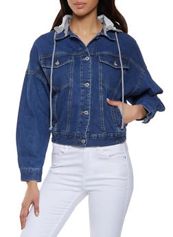 Hooded Denim Jacket - 1075051060924