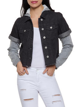 French Terry Hooded Jean Jacket - 1075051060927