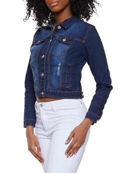 Basic Distressed Jean Jacket - 1075051061087