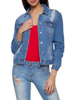Frayed Jean Jacket - 1075051062201