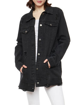 Cello Oversized Destroyed Black Denim Jacket - 1075063151048