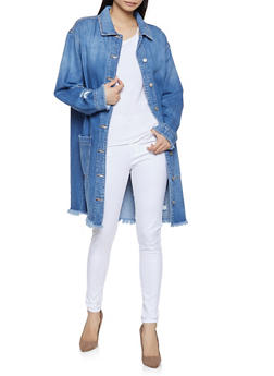 Cello Frayed Long Denim Jacket - 1075063151145