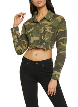 Cello Camo Cropped Raw Hem Denim Jacket - 1075063151164