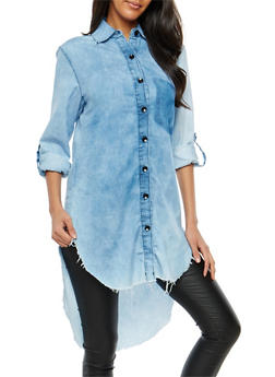 High Low Button Front Chambray Tunic - 1075063403999