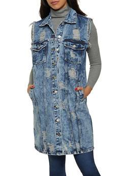 Acid Wash Sleeveless Distressed Long Denim Jacket - 1075063404497