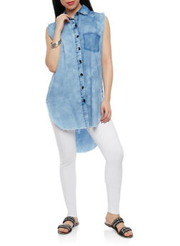 Sleeveless High Low Denim Top - 1075063407498