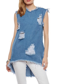 Destructed High Low Denim Tunic - 1075063407566