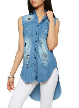 Destroyed High Low Denim Top - 1075063407567