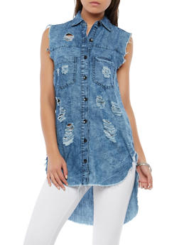 Destroyed High Low Denim Tunic - 1075063407705