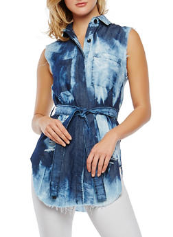 Distressed Acid Wash Denim Tunic Top - 1075063407708
