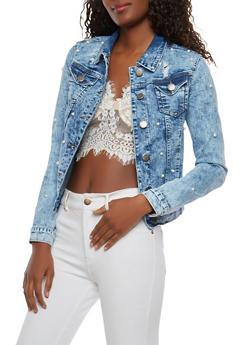 VIP Faux Pearl Denim Jacket - 1075065300795