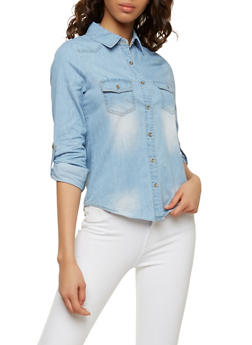 Denim Button Front Shirt - 1075069391012