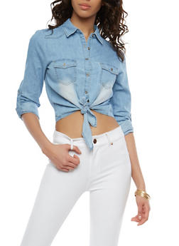 Tie Front Denim Shirt - 1075069391013