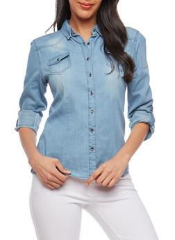 Button Front Denim Shirt - 1075071311980