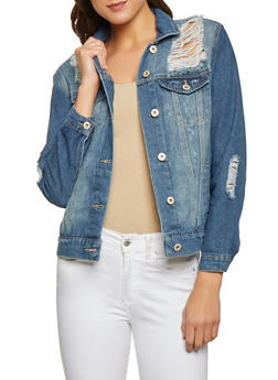 Highway Destroyed Dark Wash Jean Jacket - 1075071317047