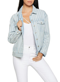 Highway Striped Denim Jacket - 1075071317101