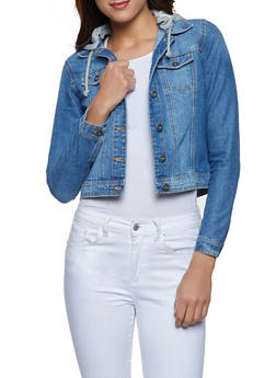 Highway French Terry Hooded Jean Jacket - 1075071317358