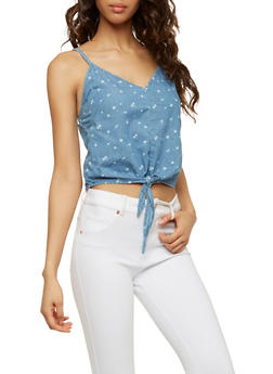 Denim Cherry Print Tie Front Top - 1075071318352