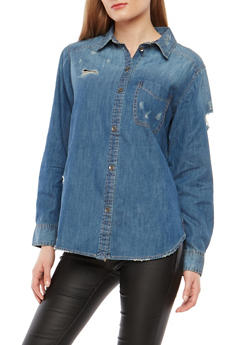 Distressed Button Front Denim Shirt - 1075071318376