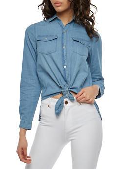 Button Front Denim Shirt - 1075071318391