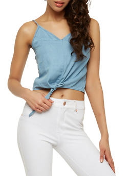 Denim Tie Front Crop Top - 1075071319352