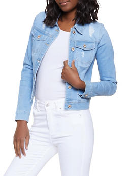 WAX Distressed Denim Jacket - 1075071610126