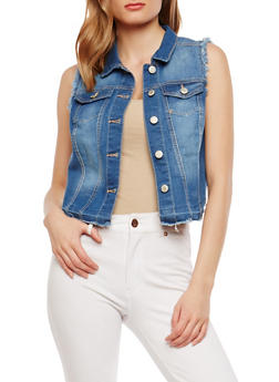 WAX Frayed Denim Vest - 1075071610973