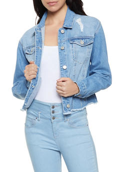 WAX Frayed Hem Denim Jacket - 1075071611810