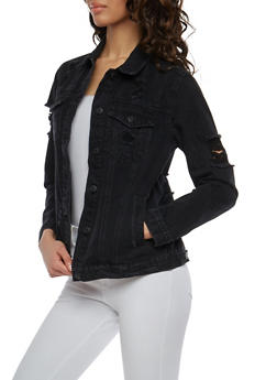 WAX Distressed Denim Jacket - 1075071619105