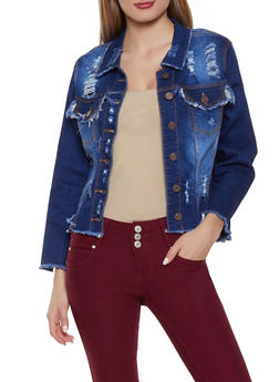 Frayed Denim Jacket - 1075072290004