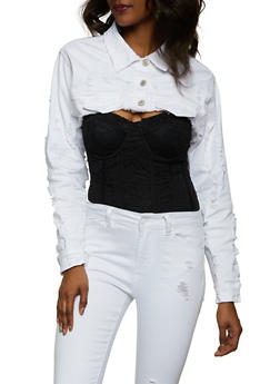 Cropped Distressed Jean Jacket - 1075072294644