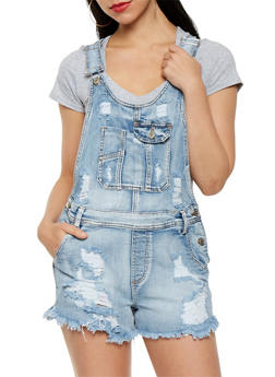 Almost Famous Frayed Denim Shortalls - 1076015990019