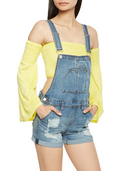 Almost Famous Distressed Denim Shortalls - 1076015990020
