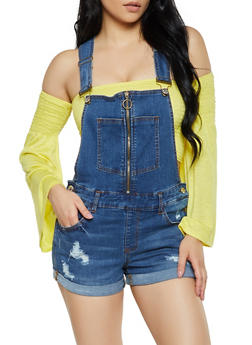 Almost Famous Zip Front Denim Shortalls - 1076015990089