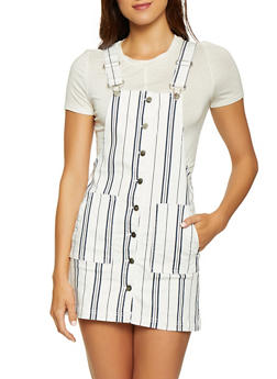 Almost Famous Striped Overall Dress - 1076015990777