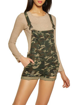 Almost Famous Camo Denim Shortalls - 1076015990858