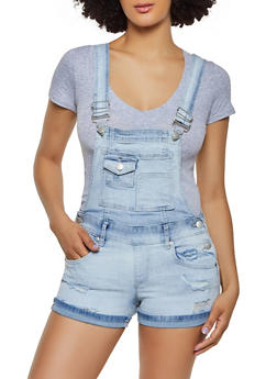 Almost Famous Light Wash Denim Shortalls - 1076015991057