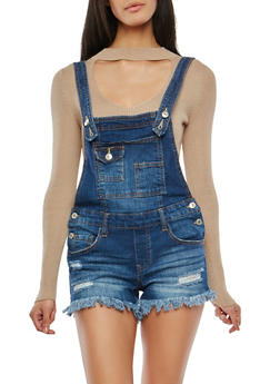 Almost Famous Frayed Denim Shortalls - 1076015994061
