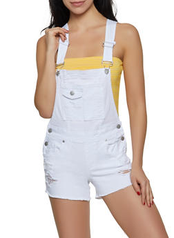 Almost Famous Frayed Shortalls | White - 1076015996117