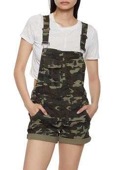 Almost Famous Denim Camo Shortalls - 1076015998585