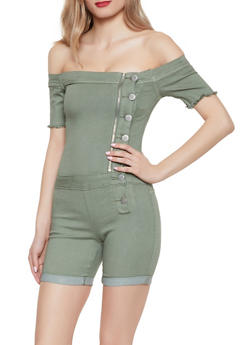 VIP Button Front Denim Romper - 1076065309555