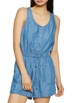 Sleeveless Chambray Romper | 1076069390501 - 1076069390501
