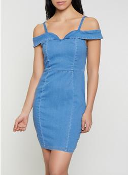 Denim Off the Shoulder Bodycon Dress - 1076069390847