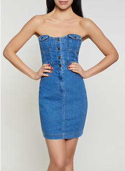 Strapless Denim Bustier Dress - 1076069391018