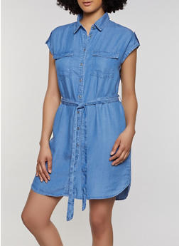 Belted Cap Sleeve Chambray Shirt Dress - 1076069394093