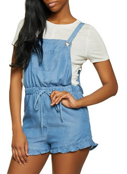 Ruffled Chambray Romper - 1076069397236