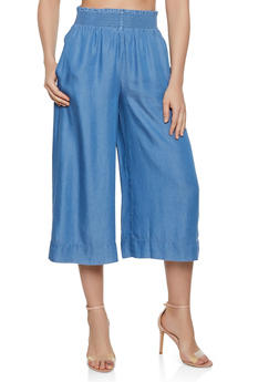 Cropped Chambray Gaucho Pants - 1076069397265