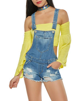Highway Distressed Denim Shortalls - 1076071312476